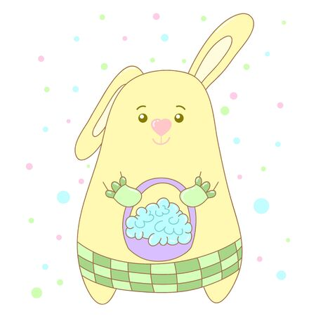 A kawaii rabbit with a basket full of flowers image for print,icon design. Ilustracja