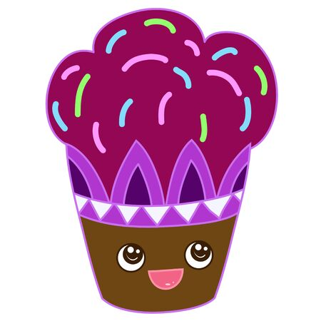 A kawaii cupcake image for print,icon design. Ilustrace