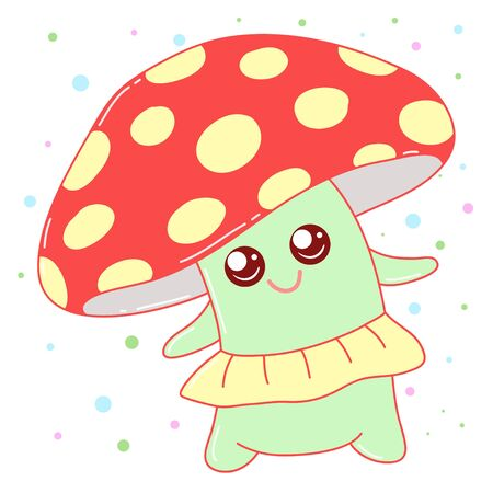 A kawaii mushroom  image for print,icon design. Vectores