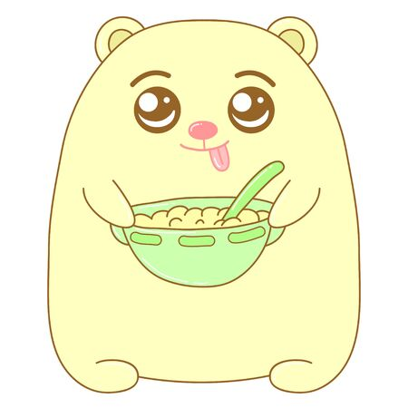 A kawaii bear with a plate full of food image for print,icon design.