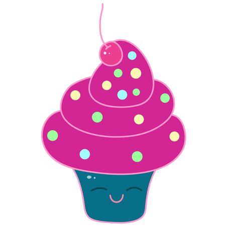 A kawaii cupcake image for print,icon design. Stock Illustratie