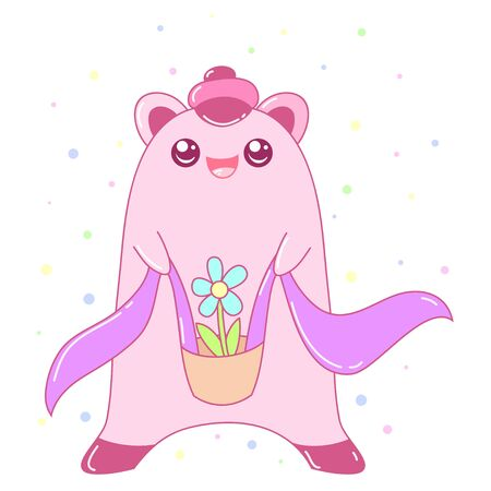 A kawaii monster with a flower image for print,icon design. Ilustracja