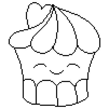 A kawaii cupcake image for print,icon design.Pixel art. Stock Illustratie