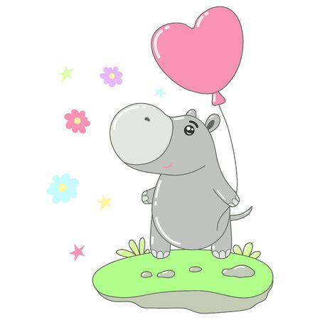 A kawaii hippo with balloon image for print,icon design.