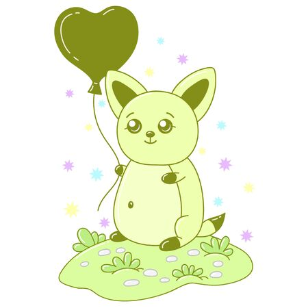 A kawaii cat with balloon image for print,icon design.