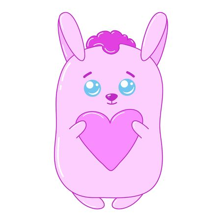 A kawaii rabbit with a heart  image for print,icon design.