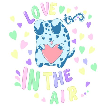 A kawaii dog with a heart with lettering image for print,icon design.