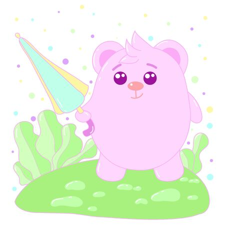 A kawaii bear with umbrella image for print,icon design. Ilustrace