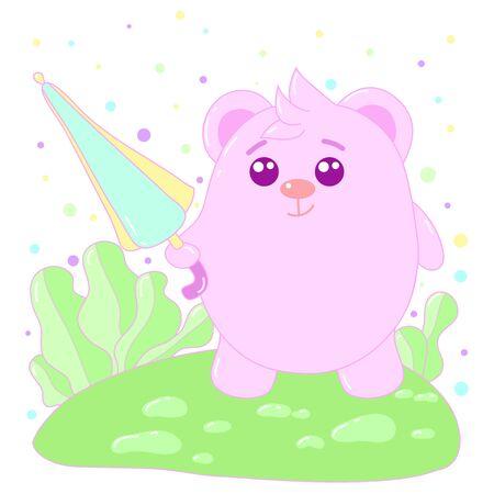 A kawaii bear with umbrella image for print,icon design. Stock Illustratie