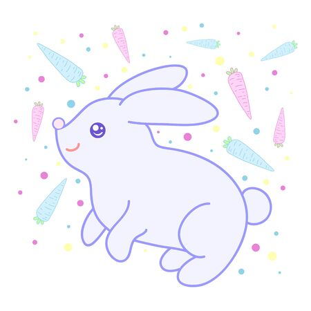 A kawaii rabbit on the background with carrots  image for print,icon design.