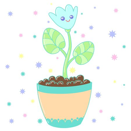 A kawaii vase with flower image for print,icon design.