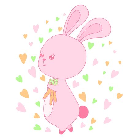 A kawaii rabbit with carrots image for print,icon design.