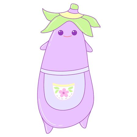 A kawaii eggplant  image for print,icon design.