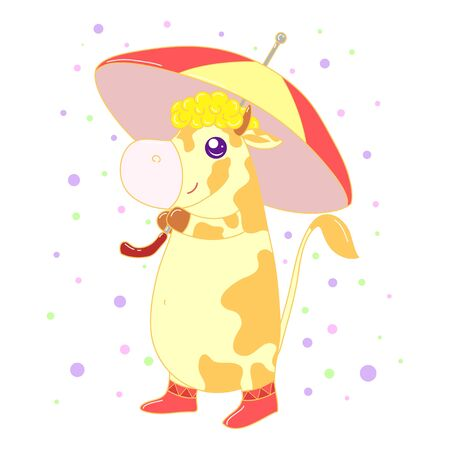 A kawaii cow with umbrella image for print,icon design.
