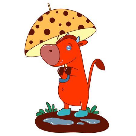 A kawaii cow with umbrella image for print,icon design.