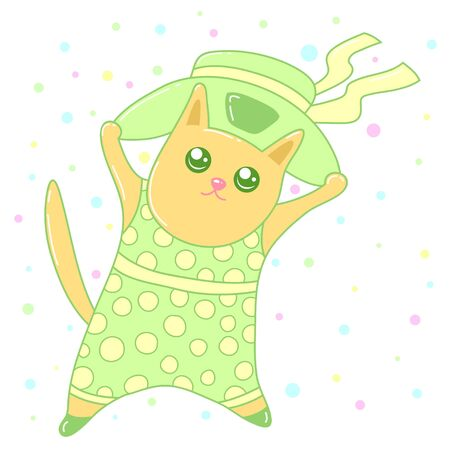 A kawaii cat wearing a hat  image for print,icon design.