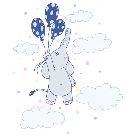 A kawaii  flying elephant with balloons image for print,icon design.