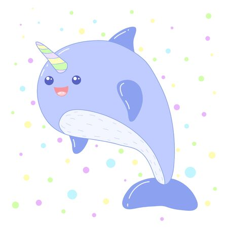 A kawaii  unicorn whale image for print,icon design. Vectores