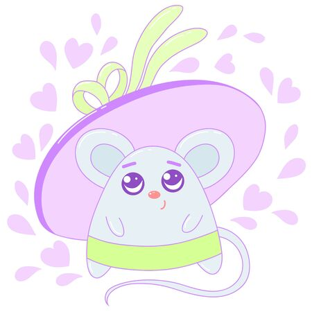 A kawaii mouse with a hat image for print,icon design. Ilustracja