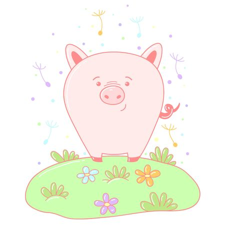 A kawaii pig image for print,icon design.