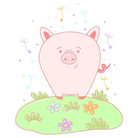 A kawaii pig image for print,icon design.