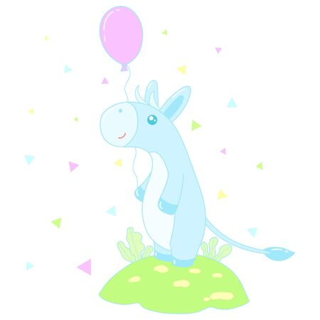 A kawaii donkey with balloon image for print,icon design.
