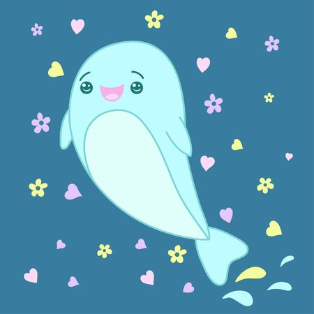 A kawaii dolphin image for print,icon design.