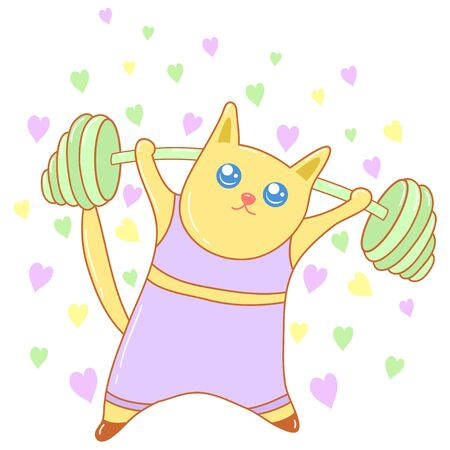 A kawaii cat doing sport image for print,icon design. Ilustrace