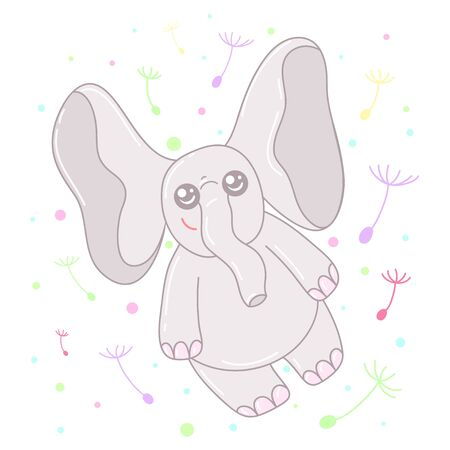 A kawaii  flying elephant  image for print,icon design. Vectores