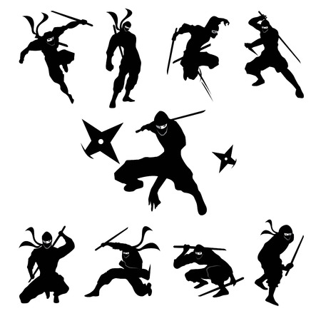warrior pose: Ninjas silhouettes Vector 01