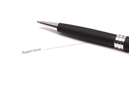 Close up of businessman signing a approve Stock Photo - 18133678