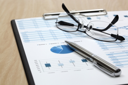 market research: Stock market graphs analysis report Stock Photo