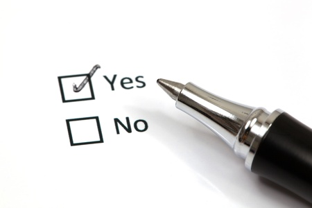 Tick placed in yes checkbox photo
