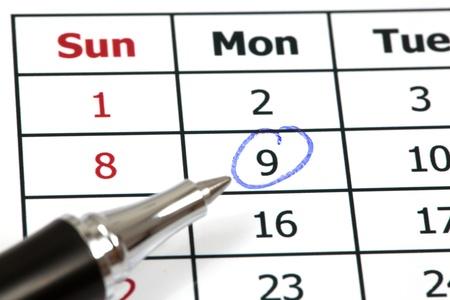 written date: Circle marked on a calendar