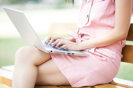 woman using laptop photo