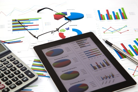 business workplace with stock market data Stock Photo - 19979394