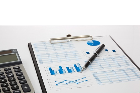 Financial graphs and charts showing Stock Photo
