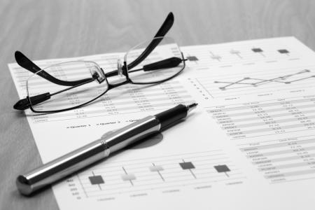 Stock market graphs analysis report Stock Photo - 20039515