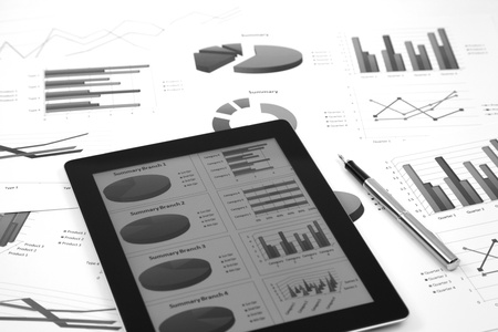 the place of interest: business workplace with stock market data