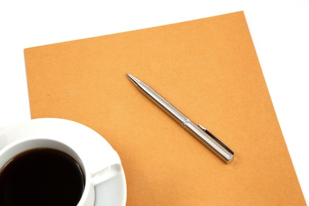 folder with coffee cup on table photo