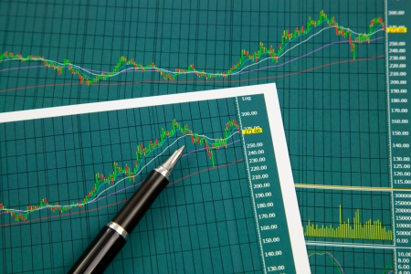 A pen on the Stock chart and financial report photo