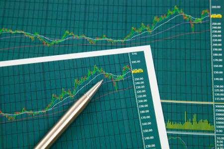 A pen on the Stock chart and financial report
