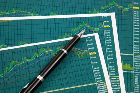 Stock chart and financial report photo