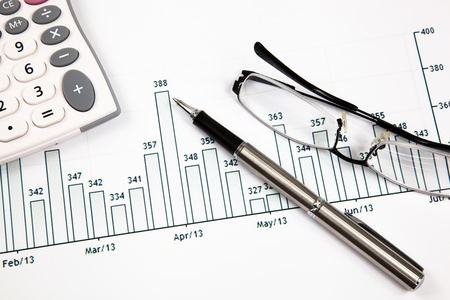 taxes budgeting: A pen, calculator and spectacles on the Stock chart and financial report