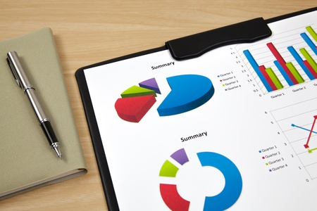 Graphs and charts report on table photo