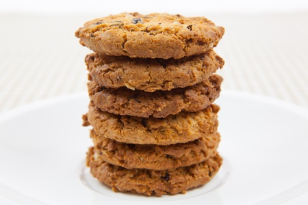 loe: chocolate chips cookies on the Plate Stock Photo