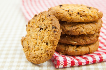 chocolate chips cookies on the cloth photo