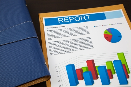 financial report analysis on table Stock Photo
