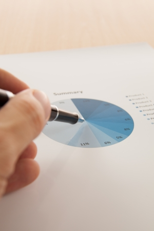 Financial graphs and charts with pen and hand photo