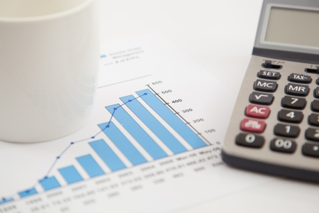 Financial graphs and charts with calculator photo